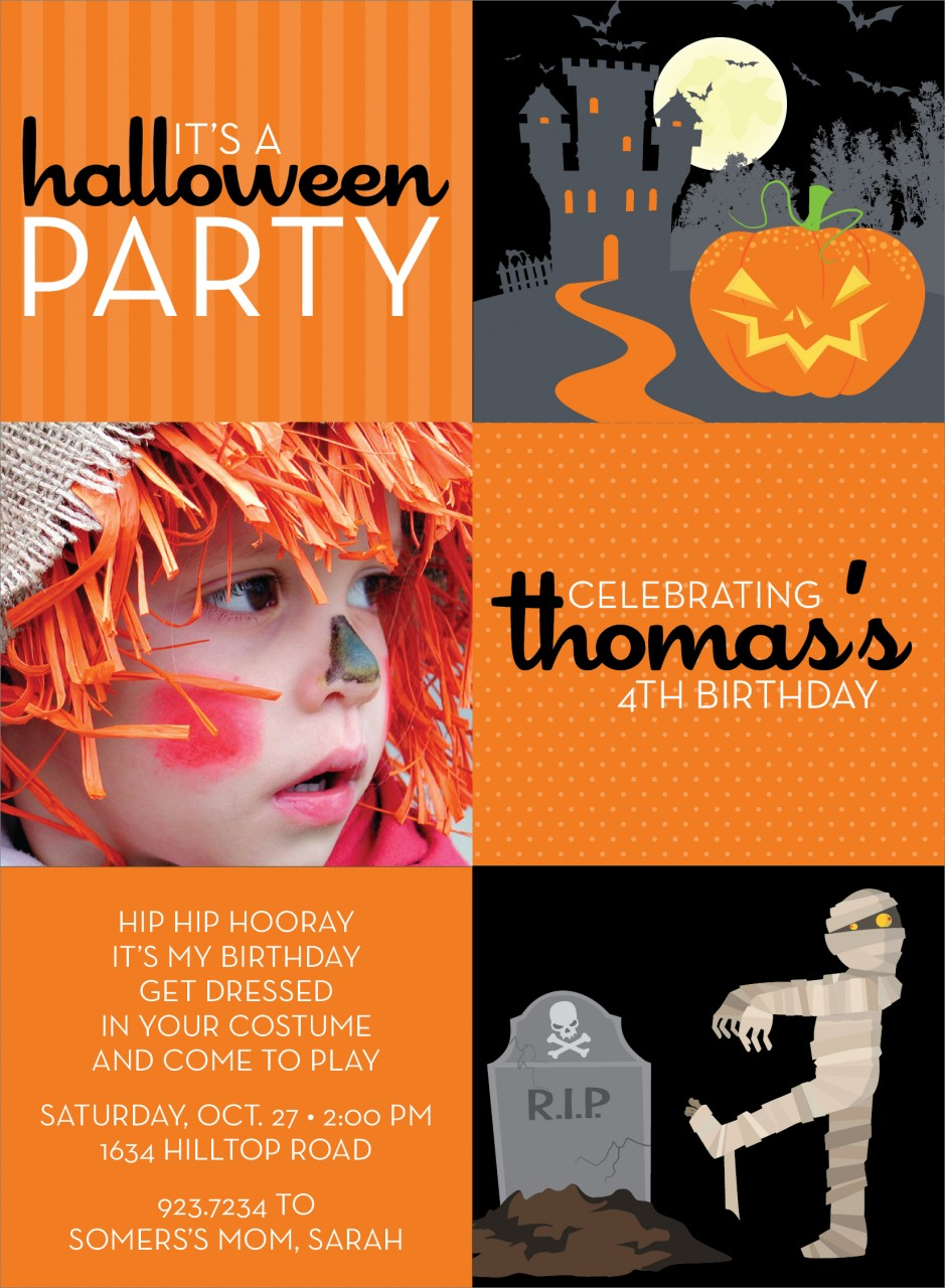 3 Square Castle and Mummy Halloween Photo Card