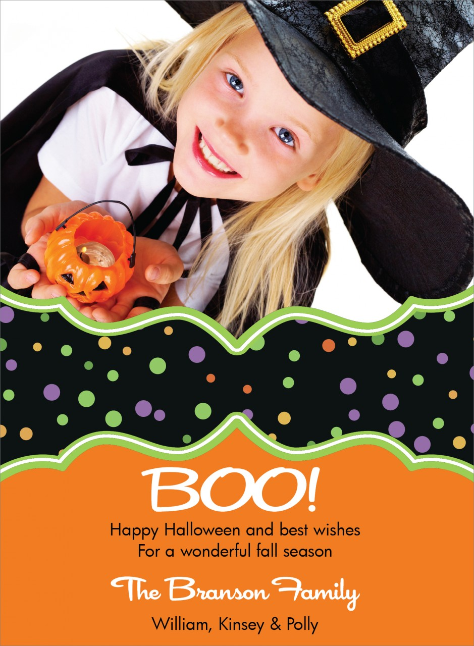 Colorful Dots Halloween Photo Card