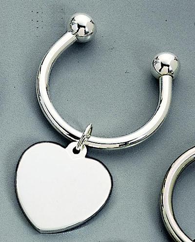 Nickel Plated Heart Key Ring
