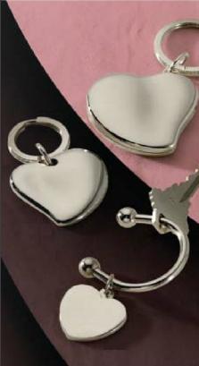 Nickel Plated Heart Key Rings