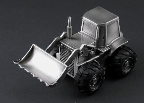 Personalized Brushed Pewter Finish Tractor Bank