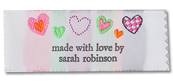 Colorful Hearts Pre-Designed Woven Fabric Clothing Labels