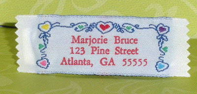 Heart Border Pre-Designed Woven Fabric Clothing Labels