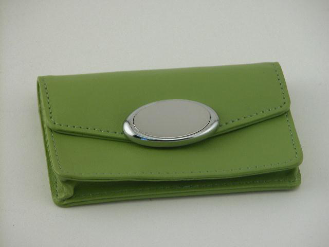 Lime Green Card Case with Engraving Plate