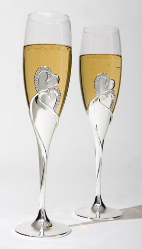 Pair of Silver Plated Amantes Toasting Flutes