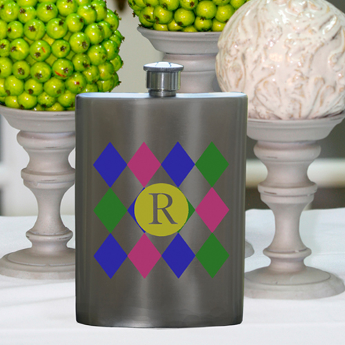 Girls Party Flasks with Initials - Diamonds Flask