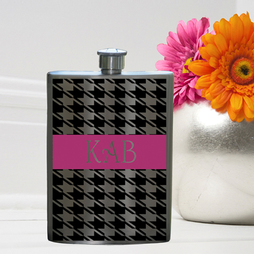 Girls Party Flasks with Monogram - Houndstooth Flask