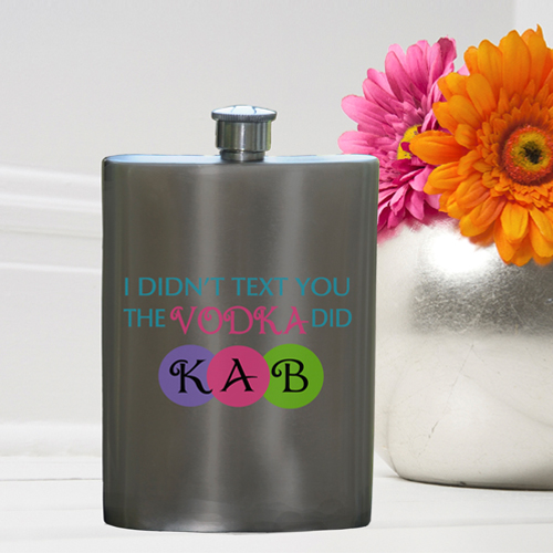 Girls Party Flasks with Monogram - Texting Vodka Flask