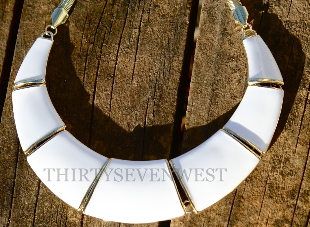 White Bib Necklace Close Up