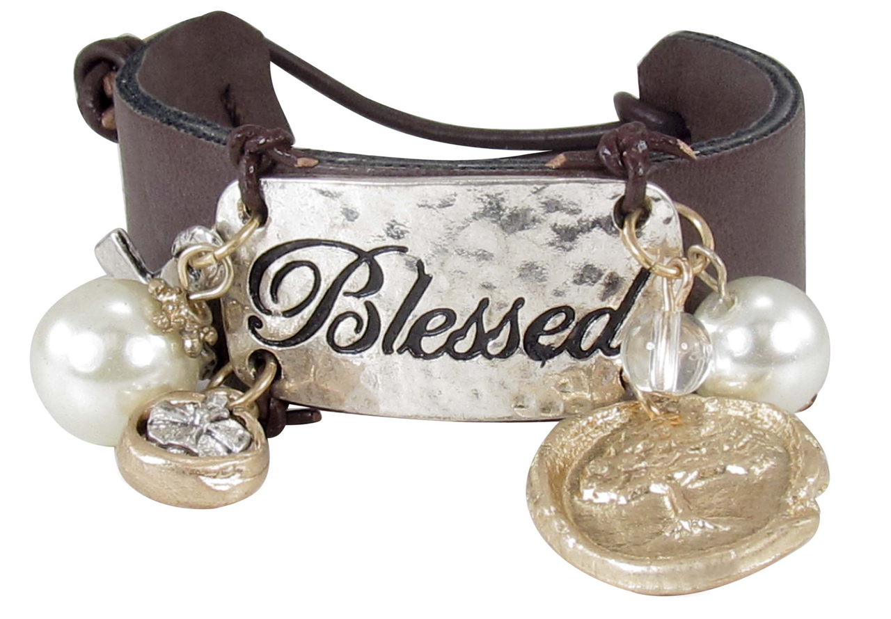 Blessed Leather Button Bracelet