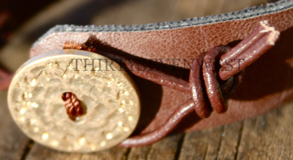 Blessed Leather Button Bracelet Button Close Up