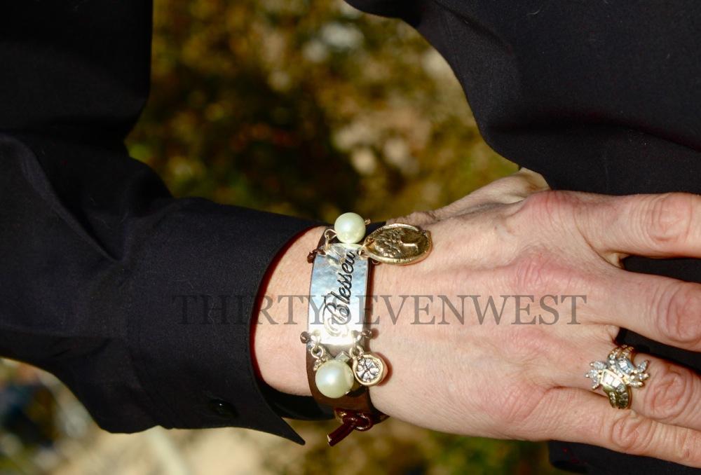 Unique Blessed Leather Button Bracelet