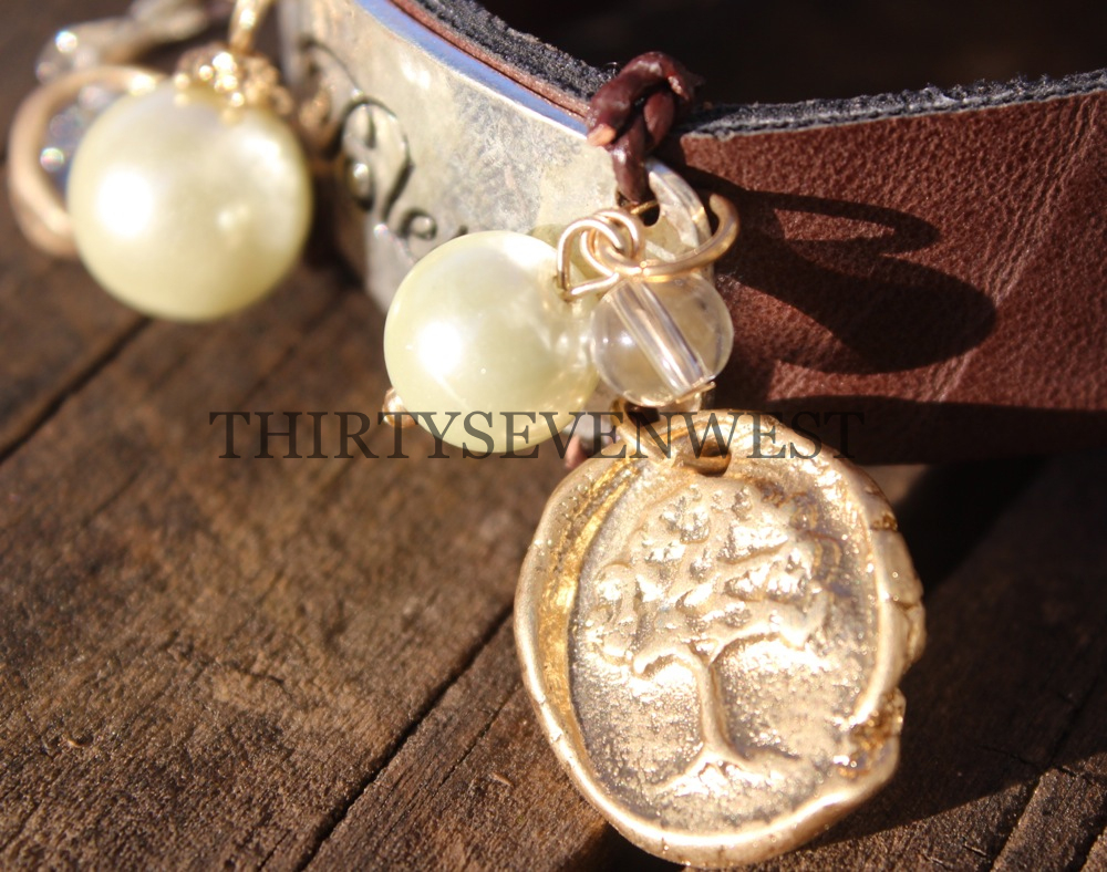 Blessed Leather Button Bracelet Beads Close Up