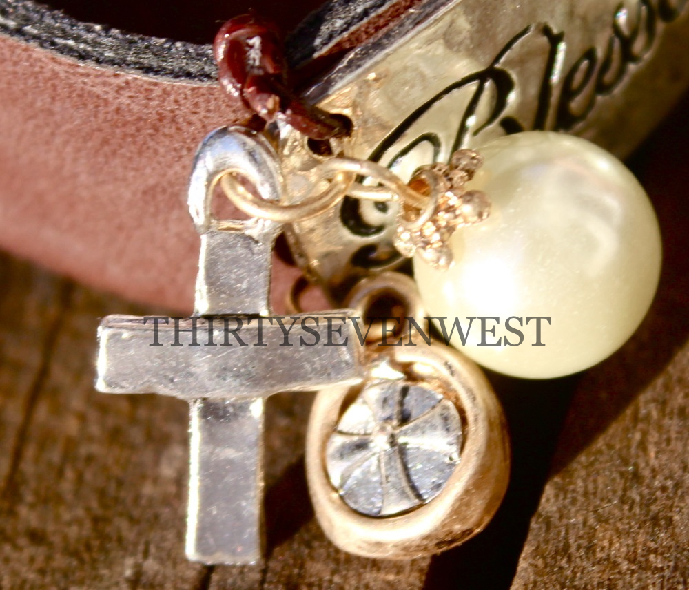 Blessed Leather Button Bracelet Cross Close Up