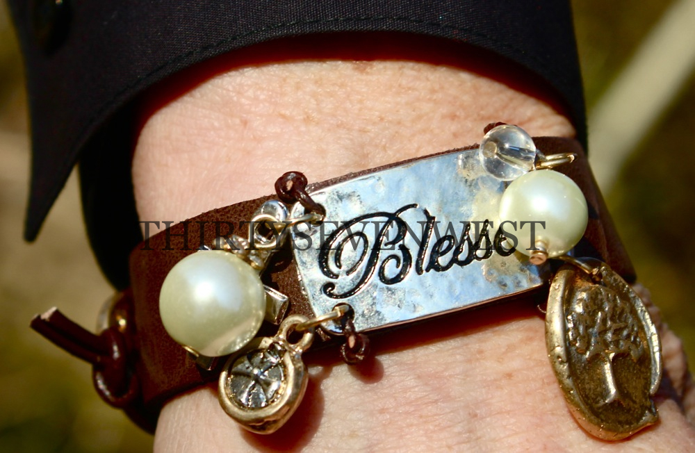 Blessed Leather Button Bracelet with bead accents