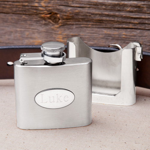 Personalized Belt Buckle Flask - Detached
