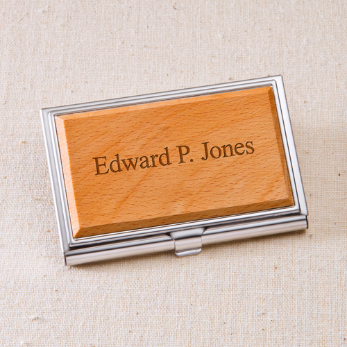 Personalized Wooden Business Card Case - Front