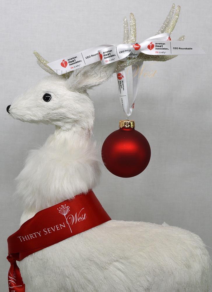 Customized Logo Ribbon, Company logo ribbon as holiday ornament hanger, Customized Multi-colored Ribbon
