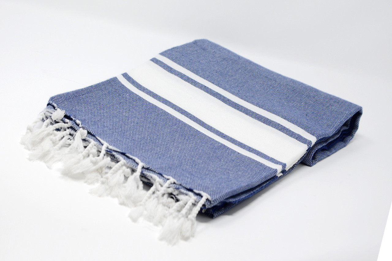 Sanibel, Turkish Beach Towel In Navy Blue, With A White Stripes