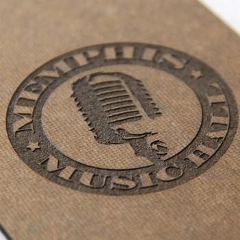 Hardboard clipboard with laser engraved logo.
