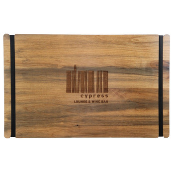 """Wood Menu Board with Bands 8.5"""" x 14"""" in landscape view, with laser engraved logo and alder antique distressed finish."""