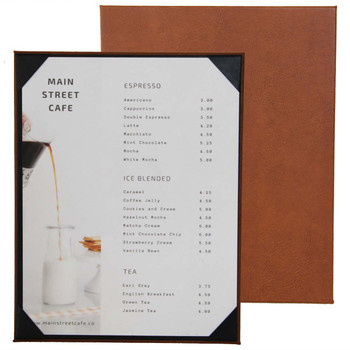 "Bordeaux One View Menu Board 8.5"" x 11"" shown in Terra with Linen French Roast Interior Panel"