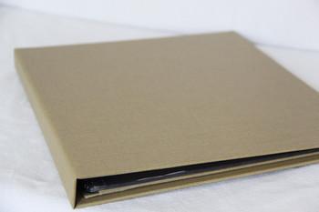 Linen Spiral Menu Cover shown in wicker linen