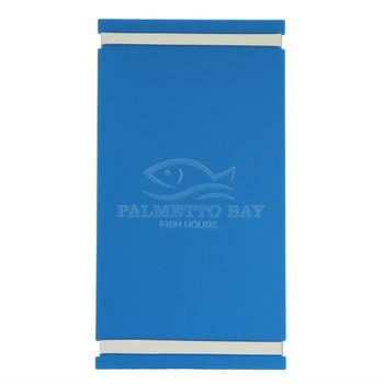 """Acrylic Menu Board with Bands 5.5"""" x 11"""" in light blue with laser engraved logo."""
