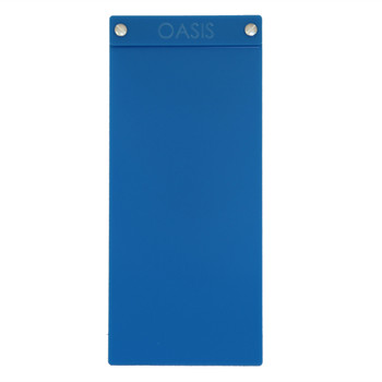 """Acrylic Menu Board with Screws 4.25"""" x 11"""" in Light Blue with laser engraved logo."""