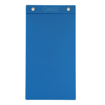 """Acrylic Menu Board with Screws 5.5"""" x 11"""" in Light Blue with laser engraved logo."""