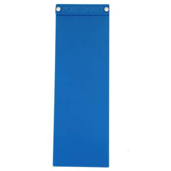 """Acrylic Menu Board with Screws 4.25"""" x 14"""" in Light Blue with laser engraved logo."""