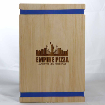 Baltic Birch Menu Board with Bands 5.5 x 8.5 in natural finish with blue rubber bands and laser engraved logo