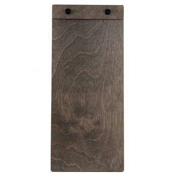 """Baltic Birch Wood Menu Board with Screws 4.25"""" x 11"""" in driftwood stain with black screws"""