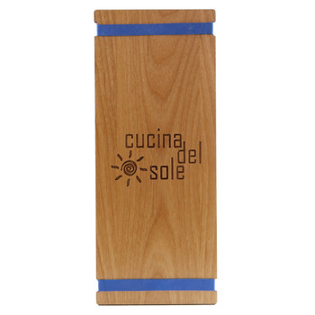 Solid Alder Wood Menu Board with Bands 4.25 x 11 with blue bands and laser engraved logo