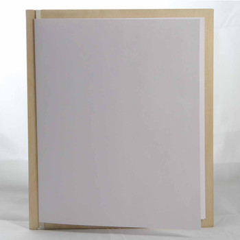 "Baltic Birch Wood Menu Board with Vertical Band 7"" x 8.5"" in natural finish with off white rubber band and menu insert page (8.5"" x 14"" folded to 7"" x 8.5"")"