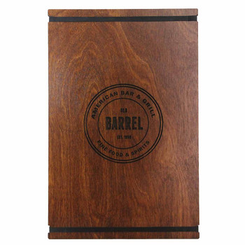 Baltic Birch Menu Board with Bands 11 x 17 in natural finish with black rubber bands and laser engraved logo