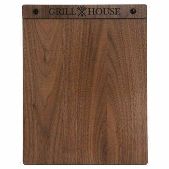 Solid walnut wood menu board with screws 8.5 x 11