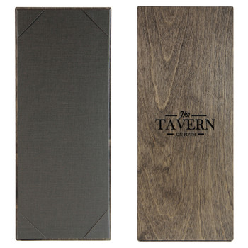 """Baltic Birch One View Menu Board 4.25"""" x 11"""" shown in driftwood finish with linen pewter interior panel and laser engraved logo."""