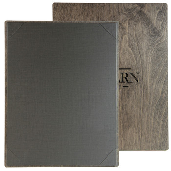 """Baltic Birch One View Menu Board 8.5"""" x 14"""" shown in driftwood finish with linen pewter interior panel and laser engraved logo."""