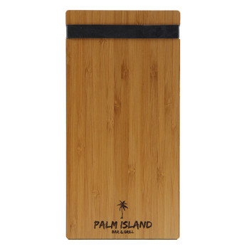 Bamboo Check Presenter with black bands and laser engraved logo.