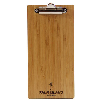 Bamboo Check Presenter with clip and laser engraved logo.