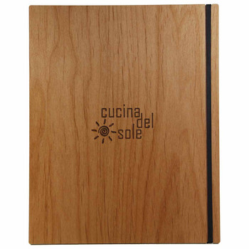 Solid Alder Wood Menu Board with Black Vertical Band and laser engraved logo