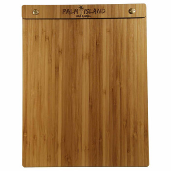 Bamboo Wood Menu Board with Screws 8.5 x 11 - Front View