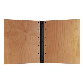 Riveted Alder Wood Three Ring Binder Interior