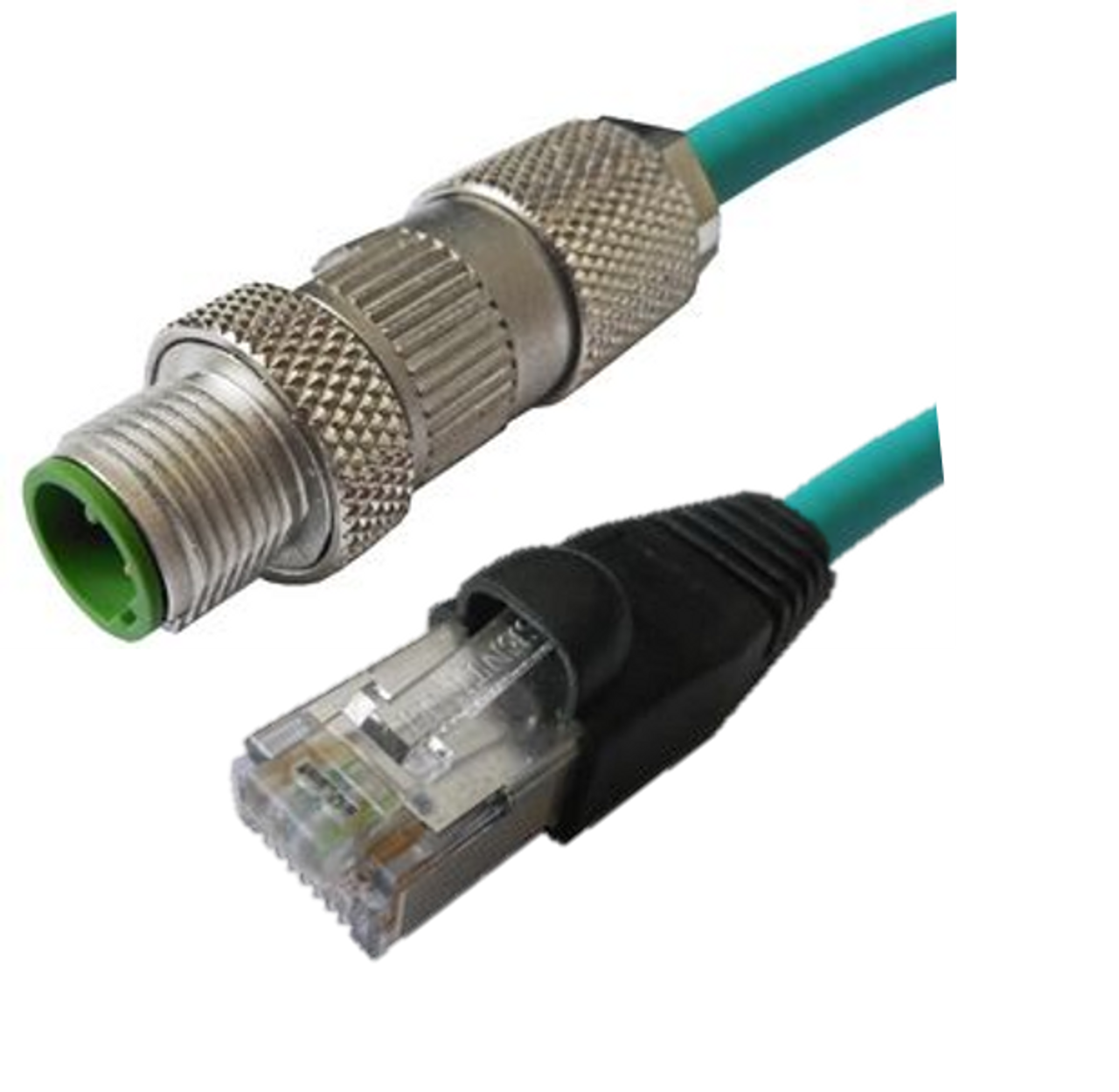 M12 4 Position IP67 D-Coded Male Straight to RJ45