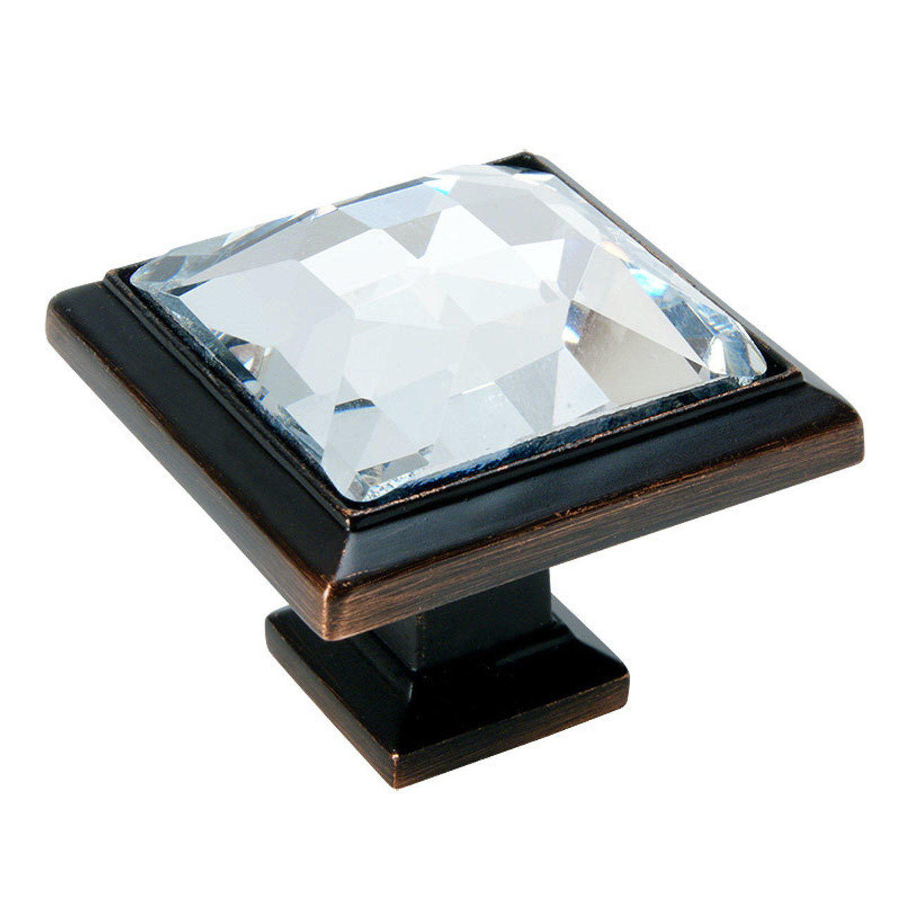 Cosmas 5883ORB C Oil Rubbed Bronze U0026 Clear Glass Square Cabinet Knob