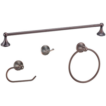 Designers Impressions Newport Series 4 Piece Oil Rubbed Bronze Bathroom Hardware Set: 19762/19168