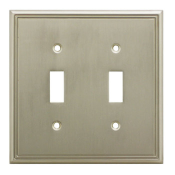 Cosmas 65004-SN Satin Nickel Double Toggle Switchplate Cover