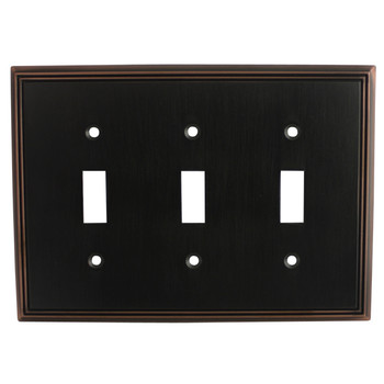 Cosmas 65005-ORB Oil Rubbed Bronze Triple Toggle Switchplate Cover