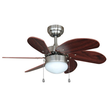 "Satin Nickel 30"" Ceiling Fan w/ Light Kit - Cherry Blades : 17-5487"